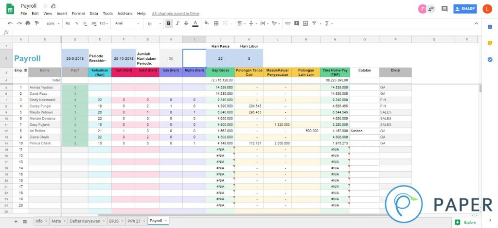 Payroll Template - Paper.id