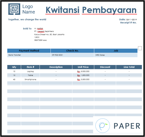 Contoh Kwitansi Archives Paperid Blog