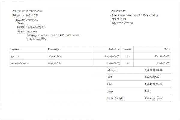 7 Contoh Template Invoice Yang Bisa Kamu Gunakan Secara Gratis