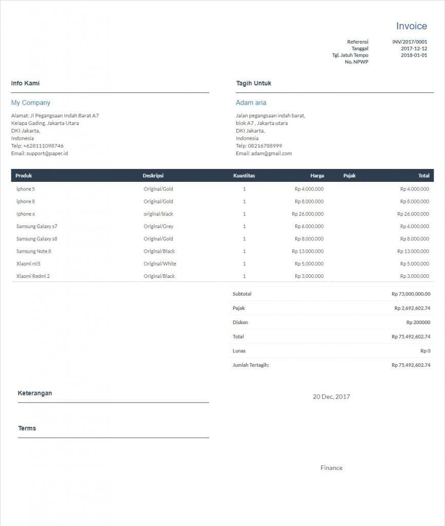 template invoice 5