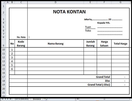 Memahami Nota Kontan Beserta Contoh Pembuatan Di Excel
