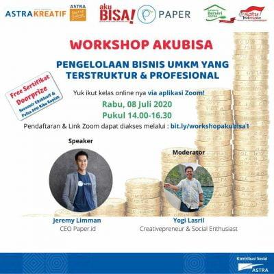 """Kolaborasi Dengan Astra, CEO Paper.id Jadi Pembicara di Workshop """"Aku Bisa"""""""
