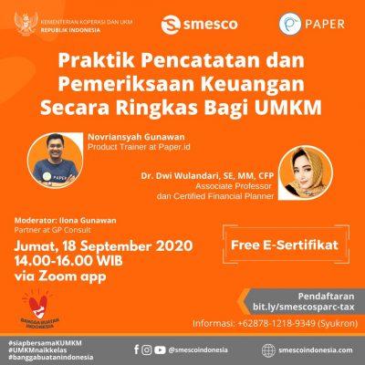 Webinar Paper.id x SMESCO, Pentingnya Pencatatan dan Pemeriksaan Keuangan UMKM